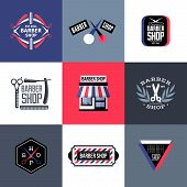 foto of barbershop  - Set of vector barber shop labels emblems and design elements - JPG