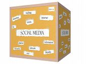 stock photo of hashtag  - Social Media 3D cube Corkboard Word Concept with great terms such as sharing hashtag mobile and more - JPG