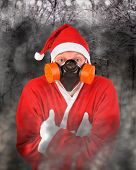 stock photo of breather  - Shocked Santa Claus in Gas Mask inside of the Puff of the Smoke - JPG