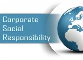 picture of responsibility  - Corporate Social Responsibility concept with globe on white background - JPG