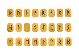 stock photo of rune  - Futhark runes on wooden tablets on white background - JPG