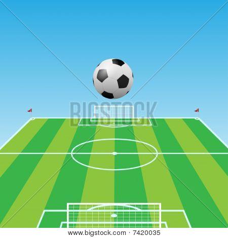 Football pitch-Soccer ball-3d