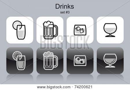 Drinks icons. Set of editable vector monochrome illustrations.