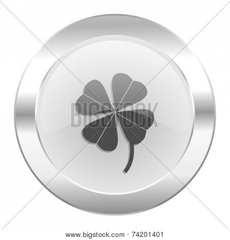 four-leaf clover chrome web icon isolated