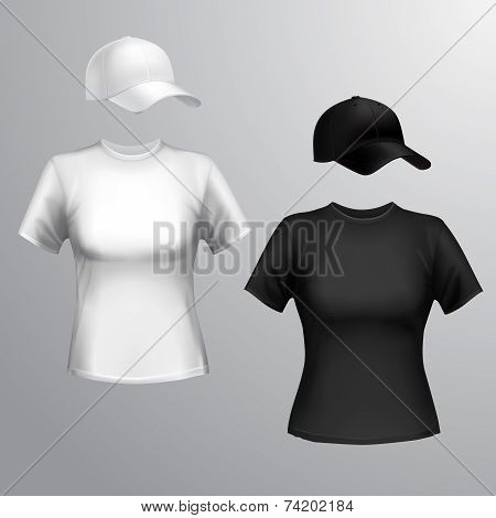 Women t-shirt baseball cap