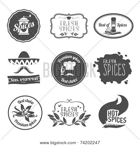 Spices labels black