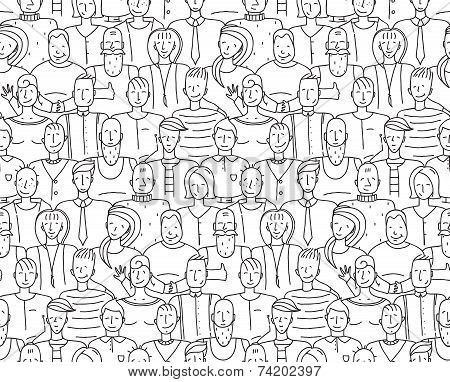 Black and White People Throng Seamless Background