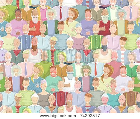 Colorful Many People Throng Tileable Background Hand Drawn