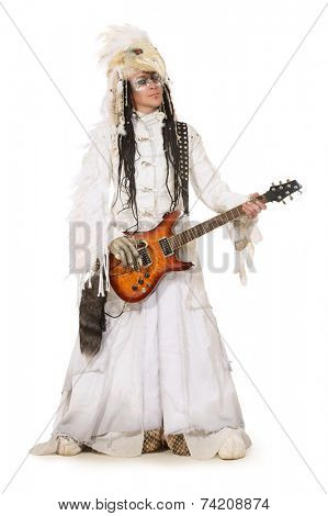 Handsome rock musician in a scenic suit of white raven. Isolated over white.