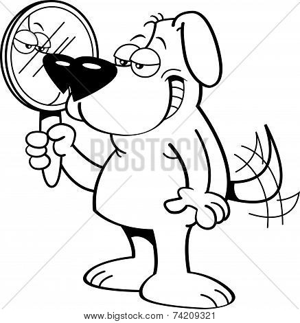 Cartoon Dog Holding a Mirror