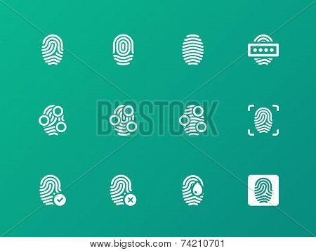 Finger authorization icons on green background.