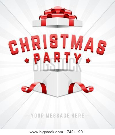 Open gift box and with red bow and ribbon vector background. Merry christmas message.