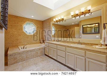 Luxury Bathroom Interior With Tile Trim