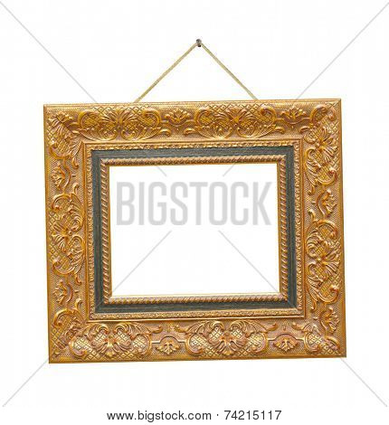 Retro frame on rope isolated on white background