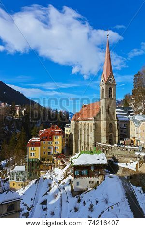 Mountains ski resort Bad Gastein Austria - architecture and nature background