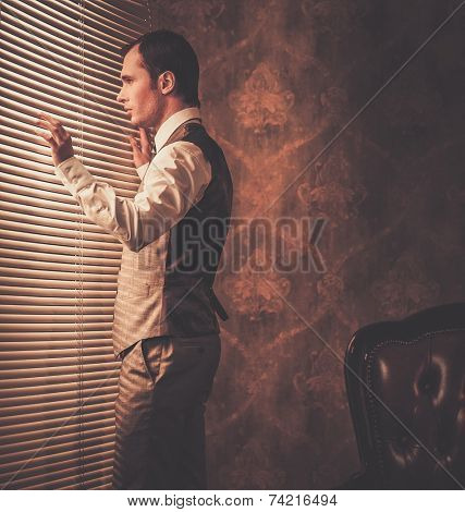 Well-dressed man looking through jalousie