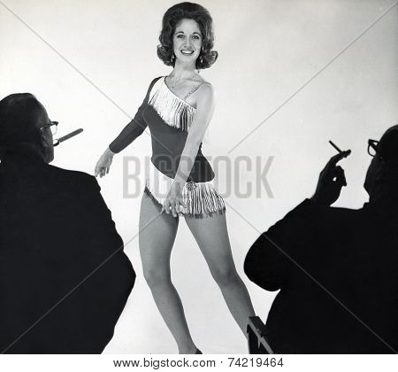 USA- CIRCA 1950s: Vintage photo shows  young actress on  casting.