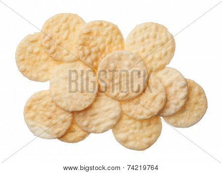 Rice Crackers Isolated On White Background
