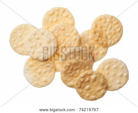 Rice Crackers Isolated On White Background
