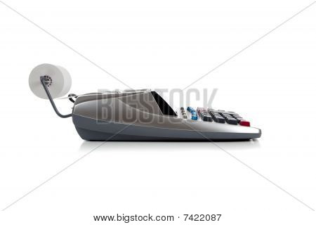Gray Adding Machine On White