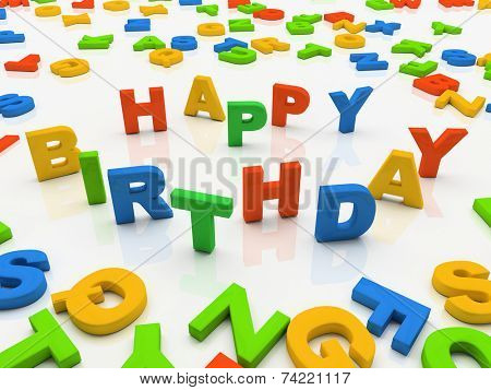 Colorful letters isolated on white background Happy Birthday