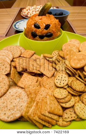 Halloween Pumpkin Cheese Ball With Crackers