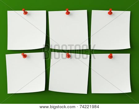 Six sticker notes isolated on the green background
