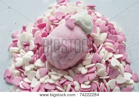 Marshmallow In Form Of Strawberries, And Sugar Hearts