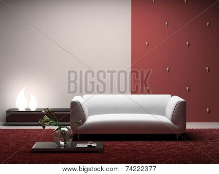 Interior of the modern room with red wall 3D. Photo in magazine was made by me, I uploaded model's release