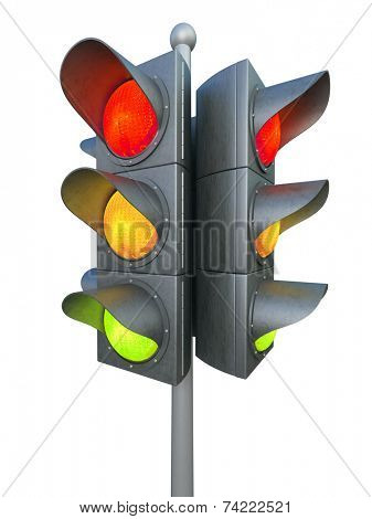 Traffic light isolated on white background 3D rendering