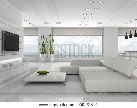 White interior of the stylish apartment 3D rendering