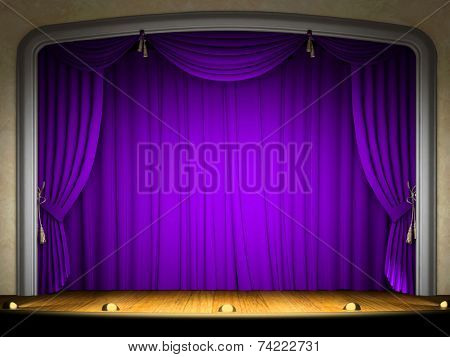 Empty stage with violet curtain in expectation of performance