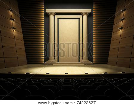 Empty stage in expectation of performance 3D rendering