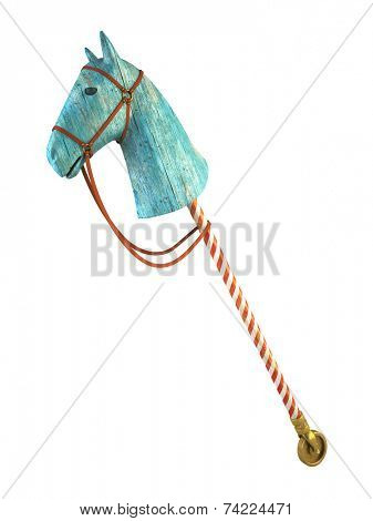 Blue wood horse on stick isolated on white background (symbol of the new year 2014) 3D