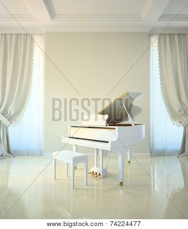 piano room in classic style 3d