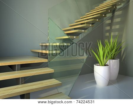 Empty room with staircase and plants angle view 3D