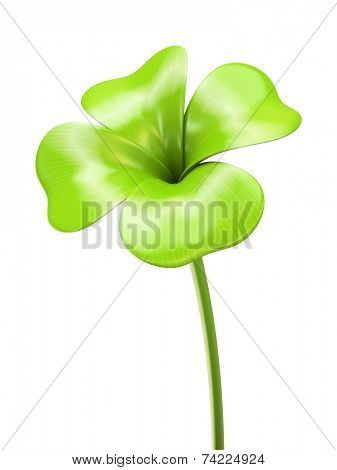 Young green four leaf sprout 3D