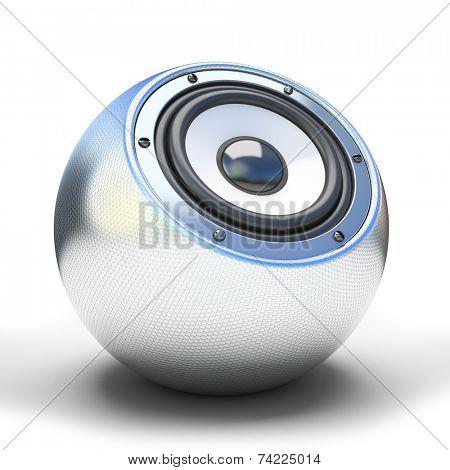 Silver sphere speaker 3D