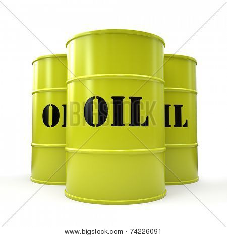 Three yellow oil barrels isolated on white background