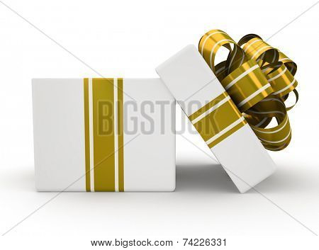 Open white gift box with gold bow isolated on white background 4