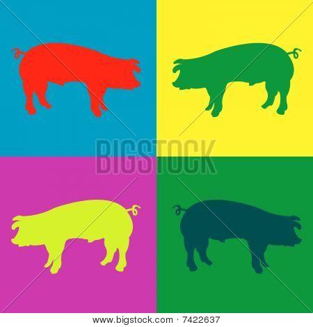 Retro Pigs Cartoon
