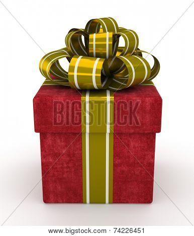 Red gift box with gold bow isolated on white background