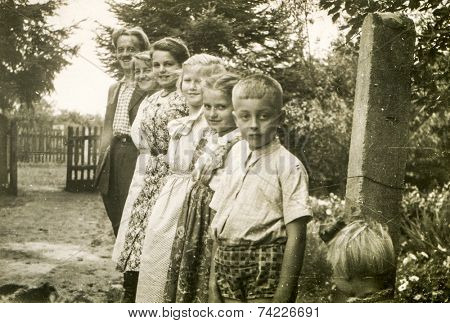 POLAND, CIRCA FIFTIES: Vintage photo of family with children