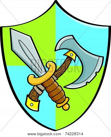 Cartoon Sword and Axe on a Shield