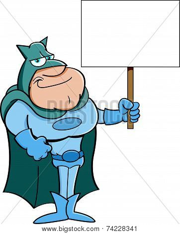 Cartoon Super Hero Holding a Sign