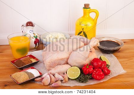 Jerk Chicken Cooking Ingredients