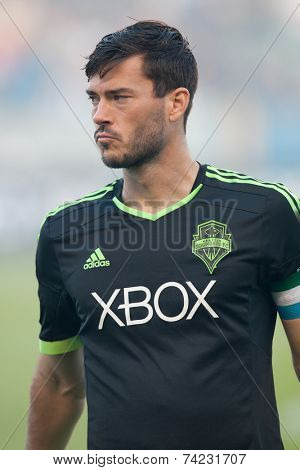 CARSON, CA - OCT 19: Brad Evans during the Los Angeles Galaxy MLS game against the Seattle Sounders on October 19th 2014 at the StubHub Center.