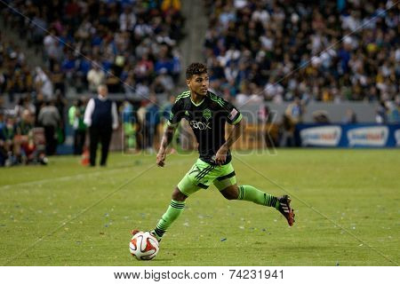 CARSON, CA - OCT 19: DeAndre Yedlin in action during the Los Angeles Galaxy MLS game against the Seattle Sounders on October 19th 2014 at the StubHub Center.