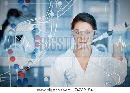 Serious chemist working with white dna helix diagram inteface against dna helix in blue and red with ecg line