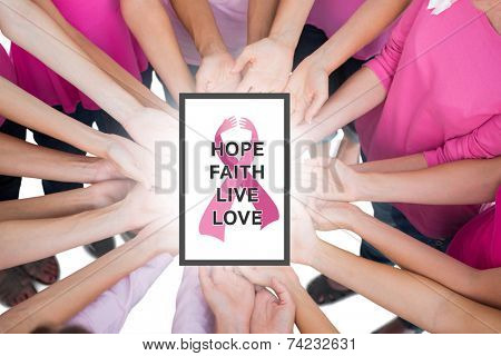 Hands joined in circle holding breast cancer struggle symbol against breast cancer awareness message